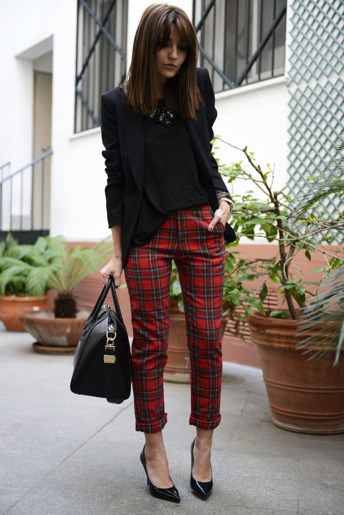 tartan pants with formal blazer: