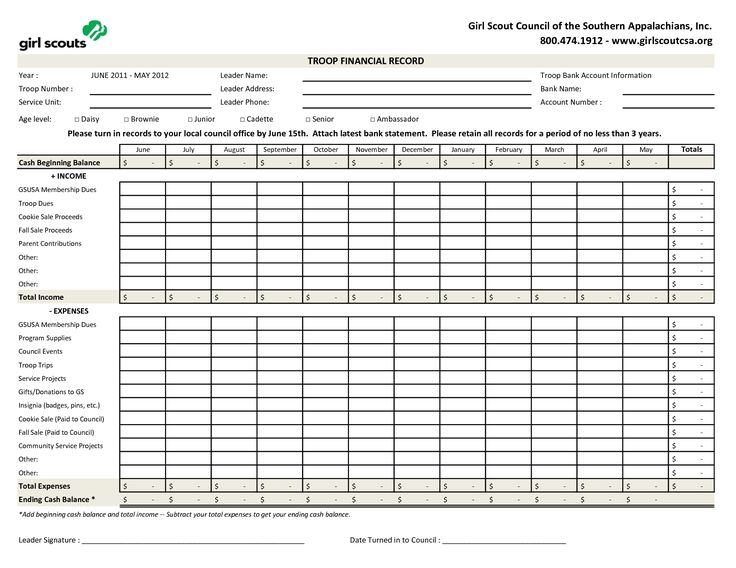 Girl scout troop financial template brownies pinterest for Girl scout calendar template