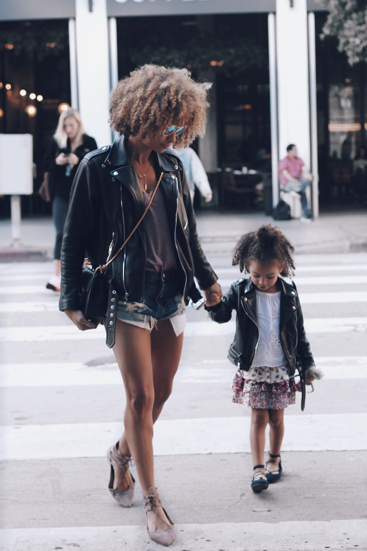 Sai De Silva and daughter London Scout Wear leather moto jackets by Laer perfect blogger streetstyle trend