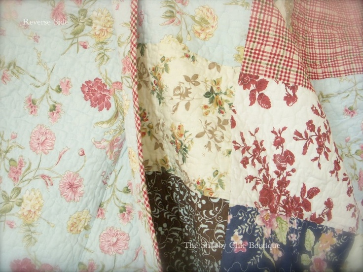 french country bedspreads and comforters | The reverse side of the quilt is a duck egg blue fabric with peonies ...