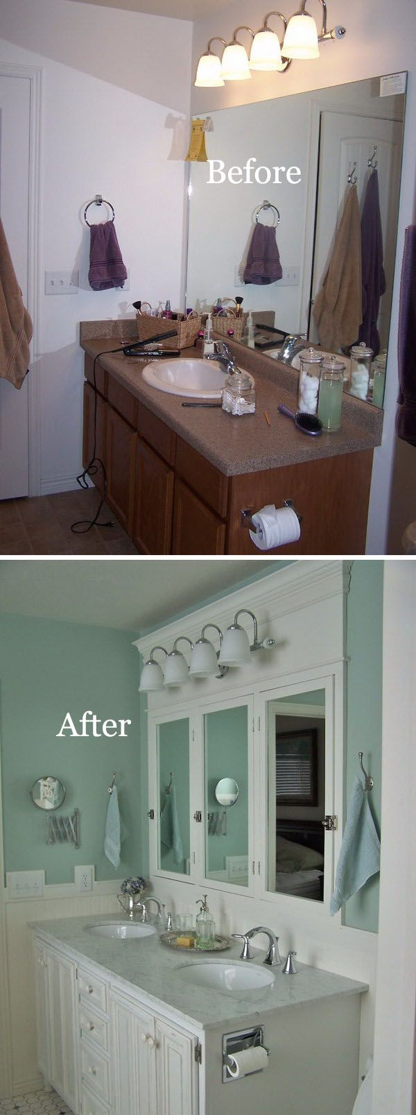 before and after 20 awesome bathroom makeovers bathroom mirror