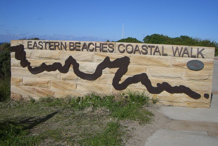 Eastern Beaches Coastal Walk, NSW sign. Cut out letters and map.