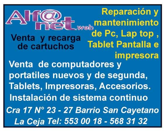 Alfanet. Reparación y mantenimiento de PC. Lap top, tablet, pantalla e impresora.