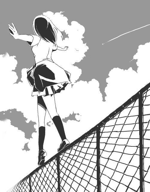 Monochrome anime manga girl