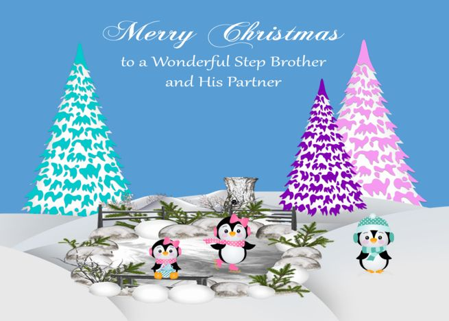 Christmas To Step Brother And Partner Adorable Penguins On Ice