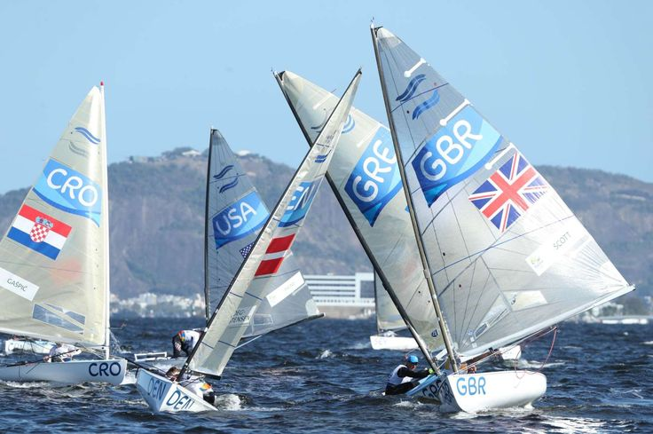Giles Scott (GBR) races during the men's finn opening series race 7 in the Rio 2016 Summer Olympic Games at Marina da Gloria.