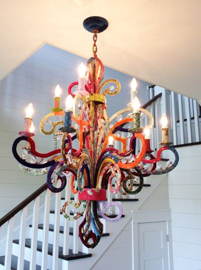 "I might have to do something like this in my ""office"" space. take2theyresmall_fabricchandelier"