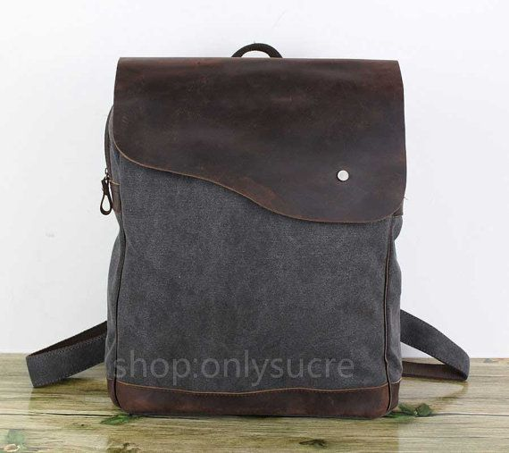 Cow Leather Canvas BackpackLaptop backpack school by onlysucre, $49.00
