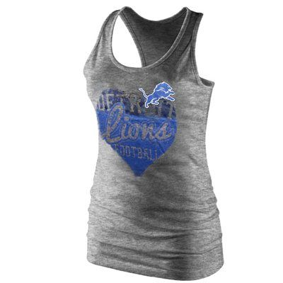 Detroit Lions Ladies Heart Relaxed Fit Tri-Blend Racerback Tank - Heathered Charcoal