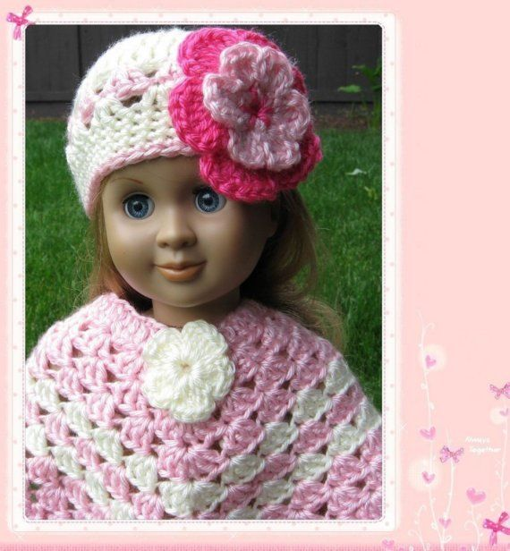 American Girl Hat Patterns Free | Pattern crocheted doll poncho for American Girl, Gotz or similar 18 ...