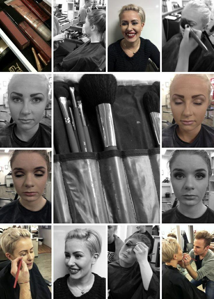 lærlinger i Modern Design trener på makeup, frisør lærlinger, hår skaper folk