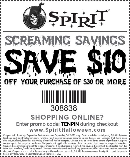 This coupon is Screaming Savings! Visit your local Spirit Halloween store and use this $10 off the purchase of $30 or more coupon! Find your local Spirit store at SpiritHalloween.com and let the savings begin!