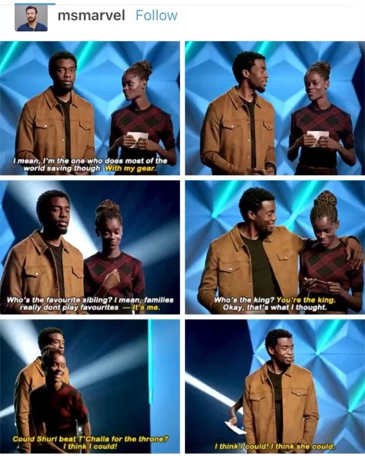 I love how their siblings relationship are displayed in Black Panther and its SO PURE REAL - Shuri. T'Challa. Marvel.