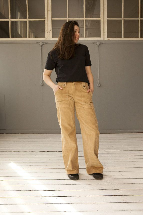 70s Corduroy Pants Low Rise Cords Womens Small Wide Leg