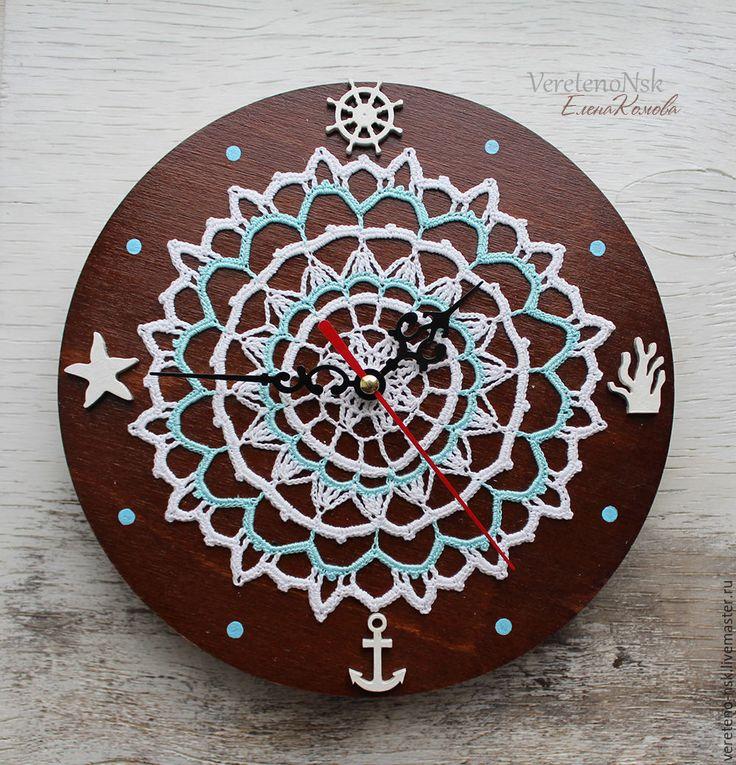 """Купить Часы настенные """"Морские"""". - белый, часы настенные, часы вязаные, вязаный декор"""