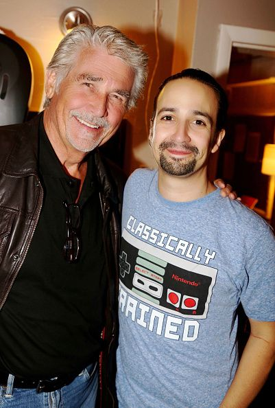 EXCLUSIVE COVERAGE James Brolin and LinManuel Miranda pose backstage at the hit musical 'Hamilton' on Broadway at The Richard Rogers Theater on...