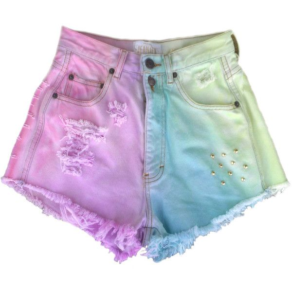 Studded Pastel Shorts ($33) ❤ liked on Polyvore featuring shorts, bottoms, pants, pastel shorts and studded shorts
