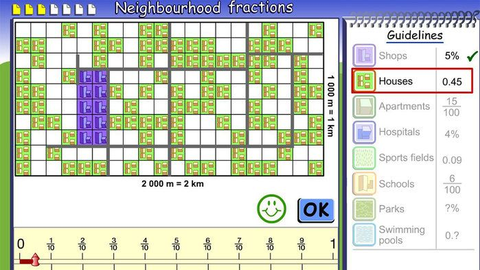 Neighbourhood fractions - Mathematics (7).Help a town planner to design site plans for three things: a neighbourhood, city and farm. This interactive game combines three other ones.