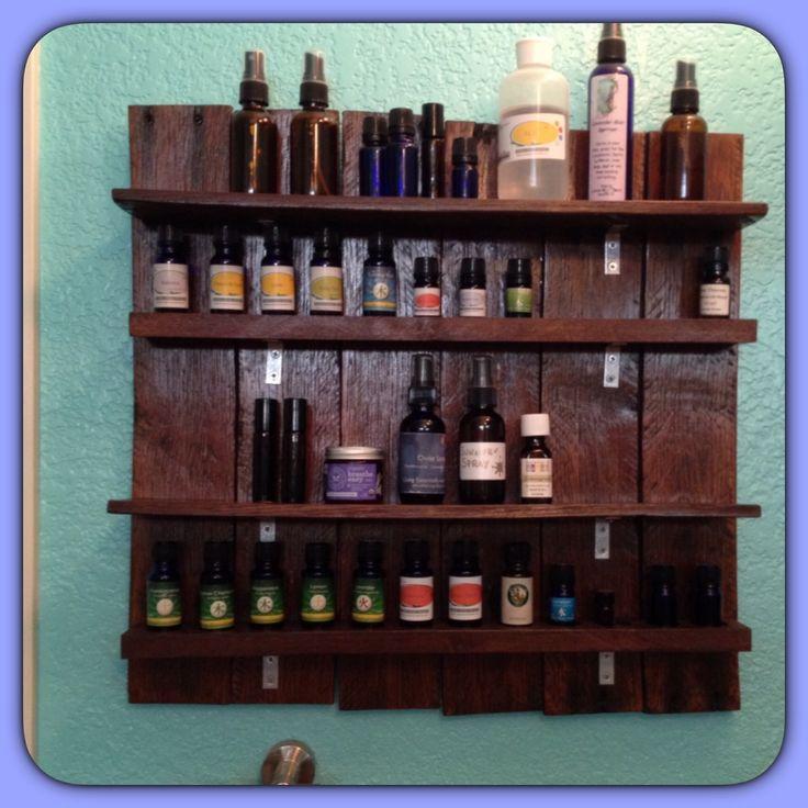 Essential oil shelf diy made from pallets essential for Diy shelves pinterest