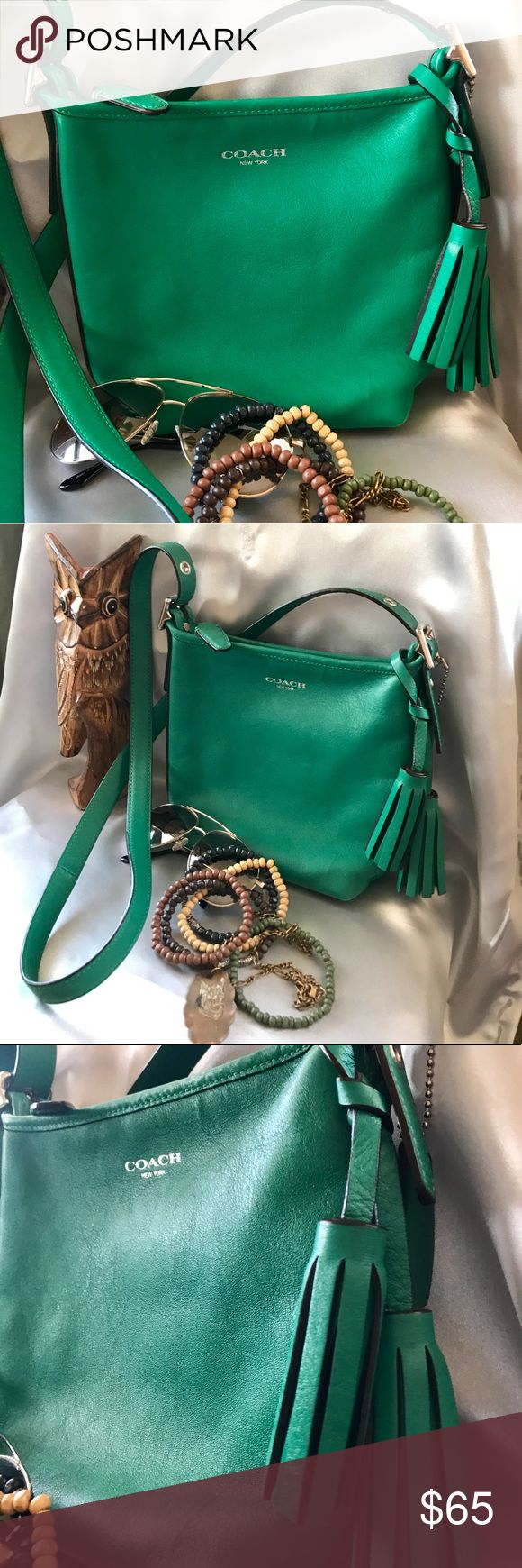 Coach Legacy Collection Crossbody - Emerald Green Mint Condition! Practically Brand New! No signs of wear! Smoke Free Environment! Measurements: 7.5'' x 8'' Coach Bags Crossbody Bags