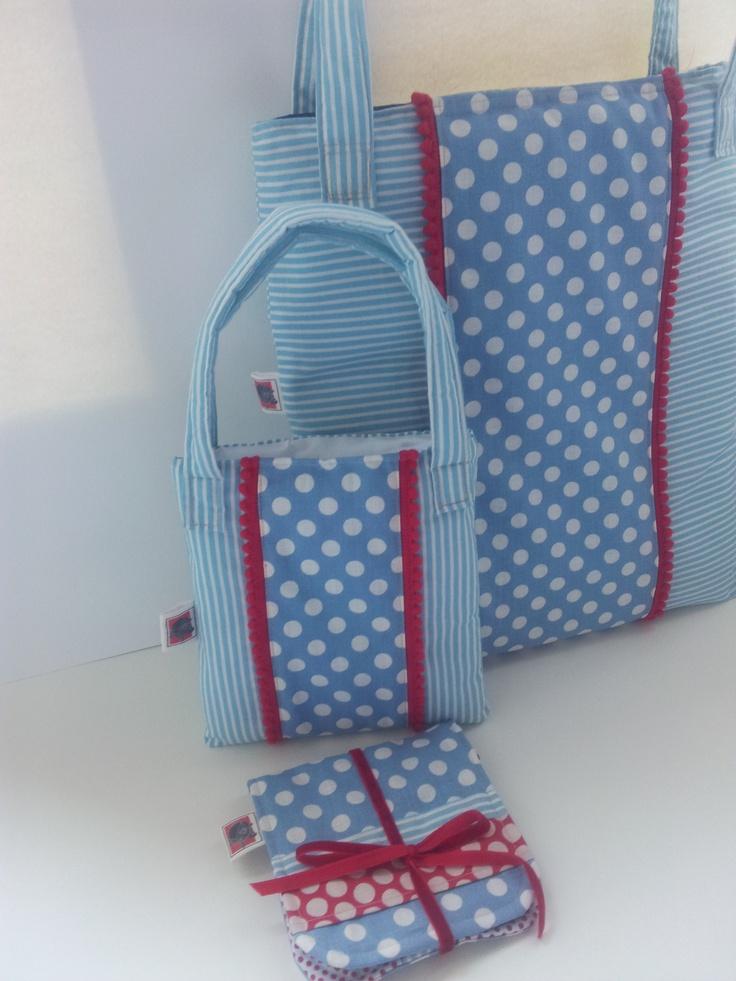 Conjunto tresCandela, bolso de mujer, niña y cartera.
