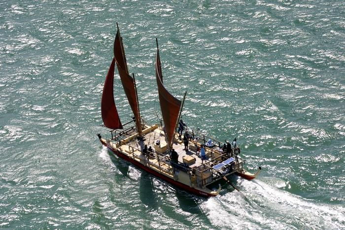 A modern replica of the sailing canoes (waka hourua) used by Maori to travel from Hawiki to New Zealand.