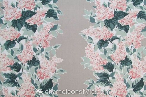 Windy Corner – Oyster is a fresh, light Traditional floral with a unique color combination of gray, celadon, dark green, and coral.