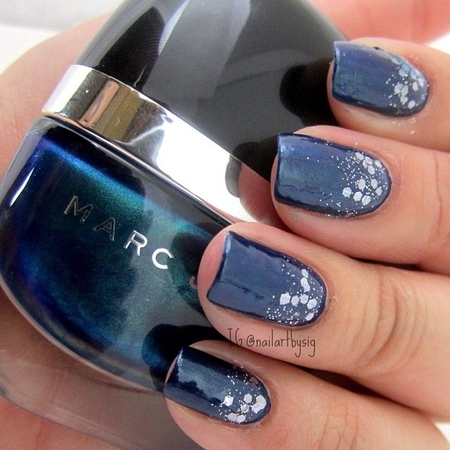 Paired Marc Jacobs Blue Velvet With A Hex Glitter Polish On The Half