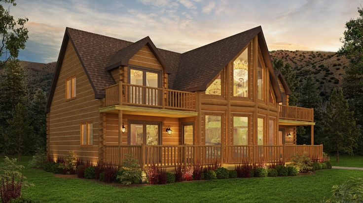 Big Glass Front Great Views From The Mangrove Log Cabin 2428 Sq Ft 3 Beds Great Room 2 1 2 Baths 1 1 2 St Log Cabin Floor Plans Log Cabin Homes Log Homes