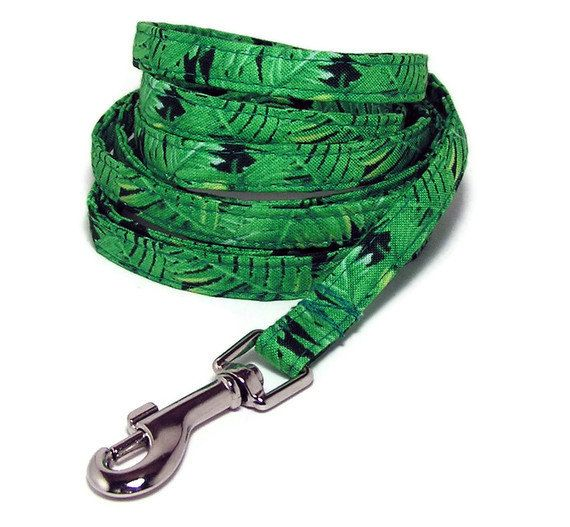 XS Leash  Rainforest Ferns  3/8 wide XS 4 or 6 Feet by PawsnTails, $23.00