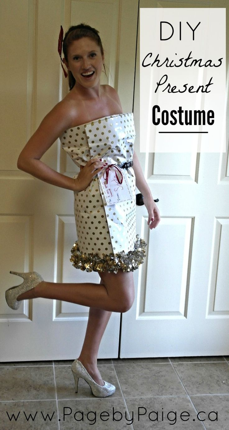 Learn how to make an adult Christmas Dress! DIY Christmas Present Costume — PagebyPaige