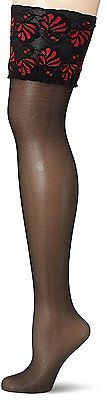 Large, Multicoloured (Black/Red), GLAMORY Women's Deluxe Hold-up Stockings, 20 D