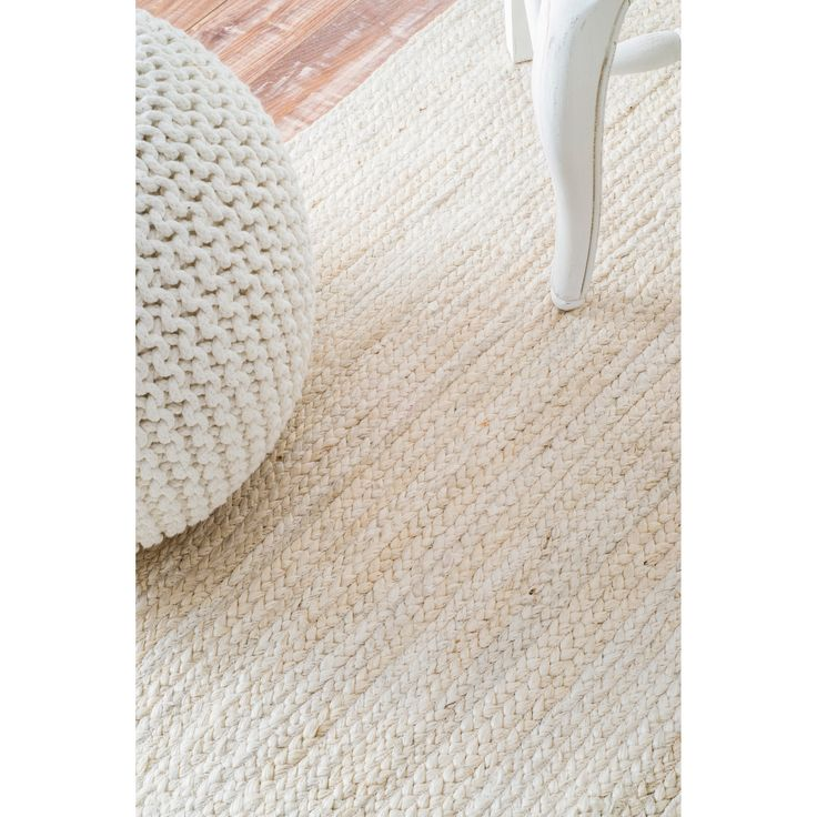 nuLOOM Handmade Eco Natural Fiber Braided Reversible Jute White Rug (9u0027 x  12u0027) by Nuloom