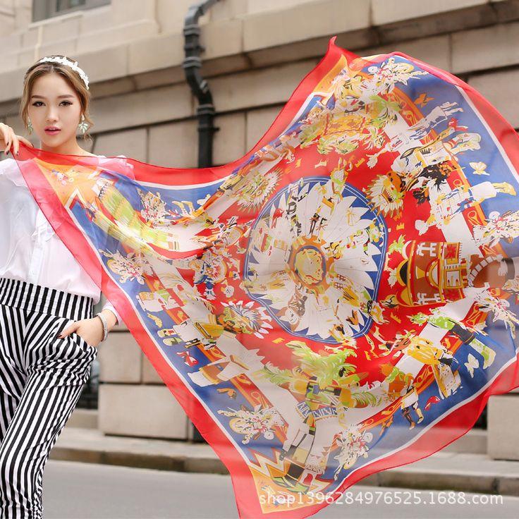 2015 중국어 번체 스타일 여성 패션 긴 쉬폰 실크 케이프 해변 선 스크린 은폐 랩 스카프 무료 배(China (Mainland))