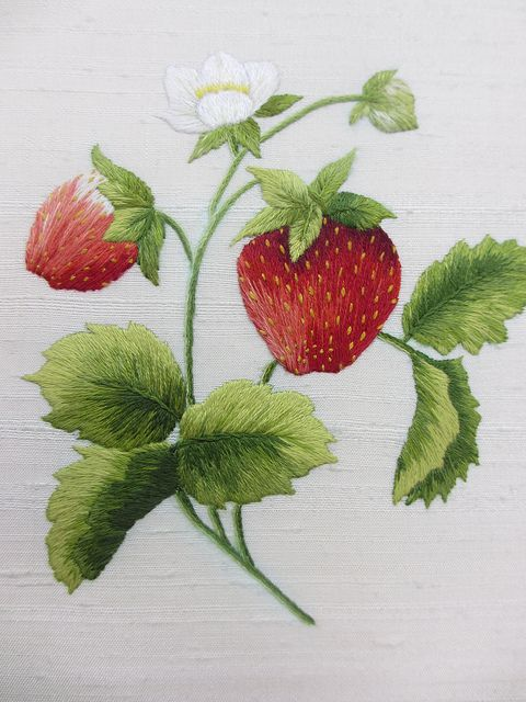 Royal School of Needlework - beautiful example of needle painting embroidery, strawberries!