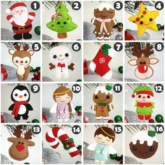Christmas ornaments felt SET of 16 ornament by MyMagicFelt on Etsy