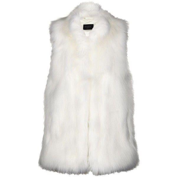 Faux Verona Gilet (£40) ❤ liked on Polyvore featuring outerwear, vests, fur, vest, tops, white faux vest, white fur vest, faux fur waistcoat, vest waistcoat and fur waistcoat