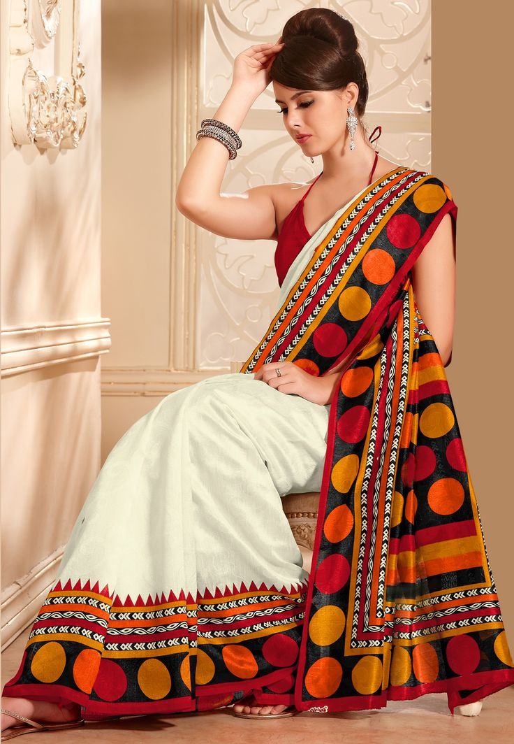 Off White and Red Art-Silk Saree