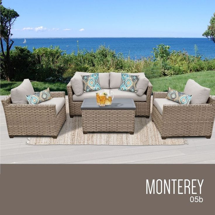 Outdoor Wicker Patio Furniture Set 05b / 5 Piece / Original Beige