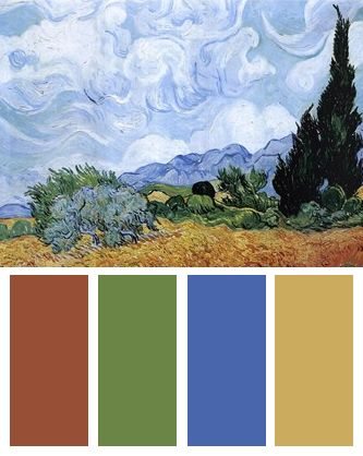 Color Palette inspired by Vincent van Gogh's A Wheat Field with Cypresses