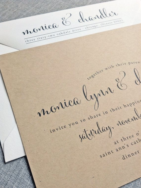 Calligraphy style font on kraft paper // wedding invitation by Cricket Printing