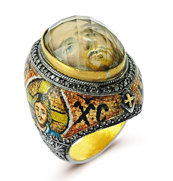 "It's an ""ART IS IT"" collection from Diamera  which is studded with diamonds and Hand painted with JESUS on this side with mosaic effect and ottoman style carving on outskirts of ""JESUS"" ring with 24k /925, beautiful Jesus face hand carved inside the stone with reverse-intaglio technique. A  meager glance at it will make you pious.   ""Neighbors Envy Owners Pride"" isn't it !!!!!"