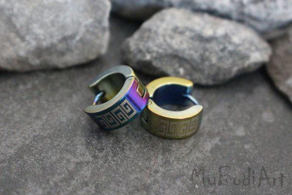 Mens Hoop Earring, Earrings for Men, Mens Earrings, Huggie Earrings, Small Hoop Earrings, Tribal Design, Rainbow Filigree & Gold