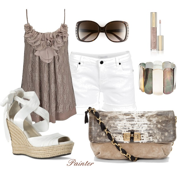 Could live without the purse, glasses and shoes!!!Shoes, Beach Day, Summer Wear, Summer Outfit, Fashion Style, Clothing Outfit, Petals Trim, Summer Wedges, Dreams Closets