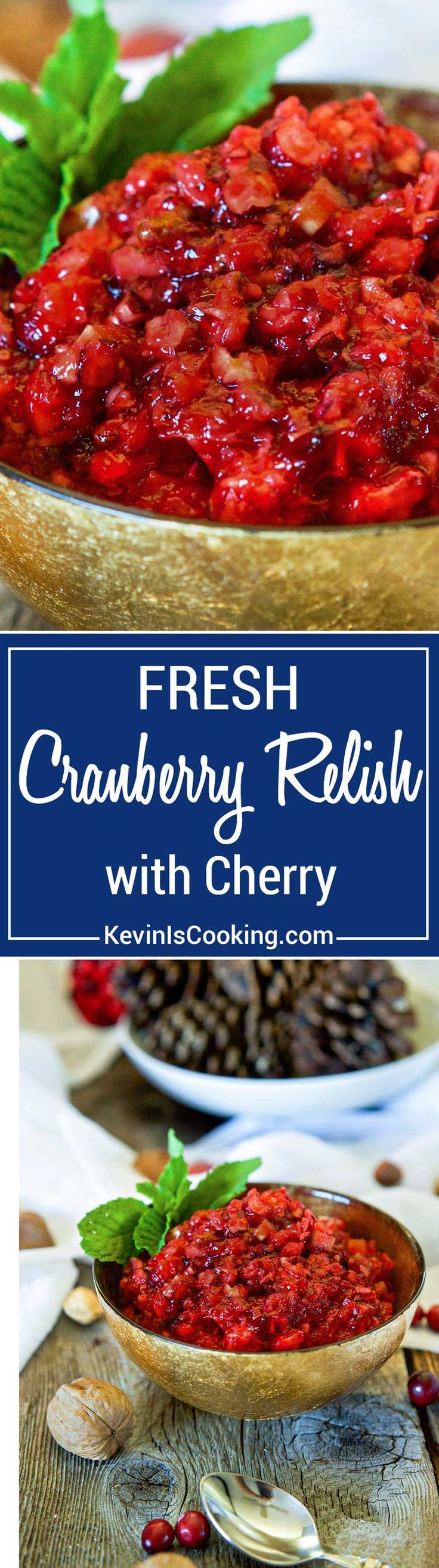 Fresh Cranberry Relish starts with fresh cranberries, orange, celery, pecans and walnuts. The secret flavor weapon is cherry jello. A great flavor combo! via @keviniscooking