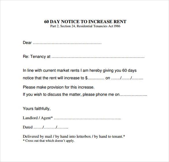 Rental Increase Letter Letter Templates Lettering Newsletter