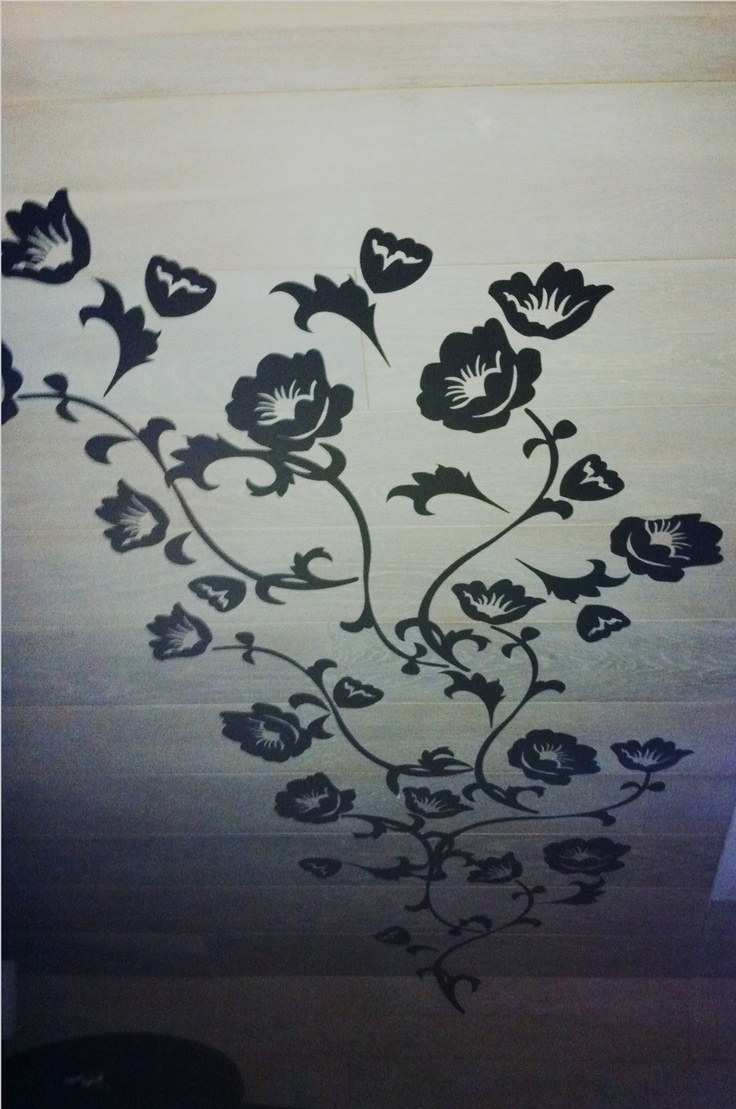 Do you have a boring sloping wall?  Use wall stickers!