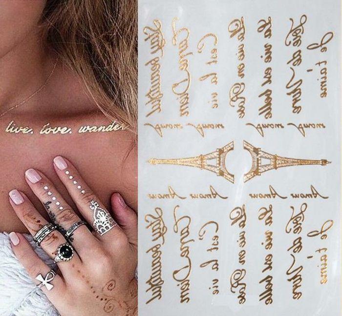 außergewöhnliche tattoos ideen für frauen ringe und maniküre kombiniert mit tattoo auf der hand