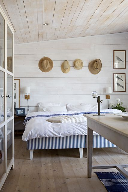Summer House in Sweden- Photo By Lena Koller.  I like the hanging hats as functional art, the wide planks, the glass door storage