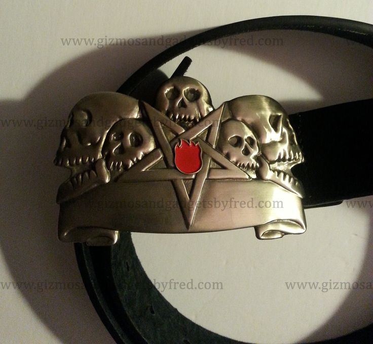 Leather belt with buckle. Punk, Gothic, Rocker, Biker etc...Size Large. Very nice. www.gizmosandgadgetsbyfred.com